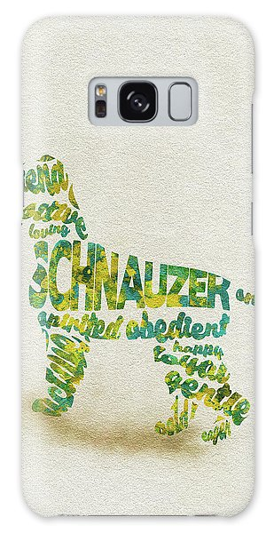 Galaxy Case featuring the painting The Schnauzer Dog Watercolor Painting / Typographic Art by Inspirowl Design