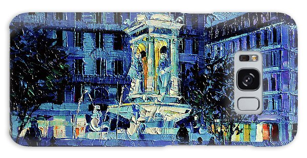 Abstract People Galaxy Case - The Square Of Jacobins Illuminated - Lyon France - Modern Impressionist Palette Knife Painting by Mona Edulesco