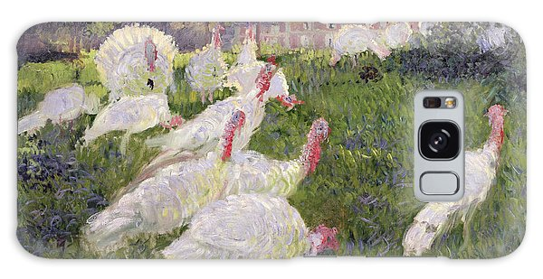 The Turkeys At The Chateau De Rottembourg Galaxy Case by Claude Monet