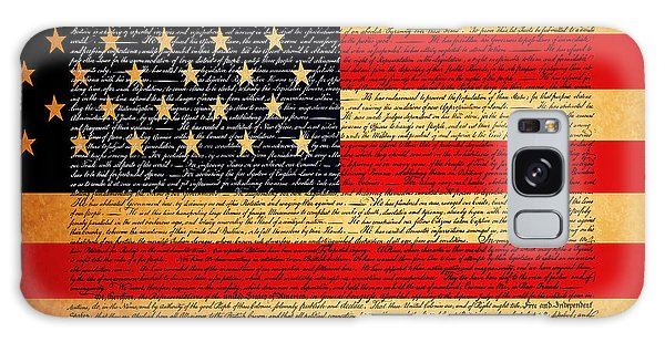 The United States Declaration Of Independence - American Flag - Square Galaxy Case
