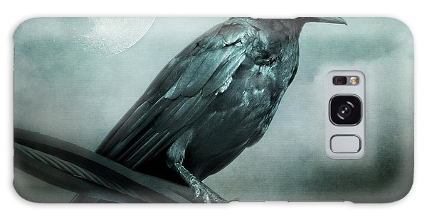 The Watcher Surreal Raven Crow Moon And Clouds Galaxy Case