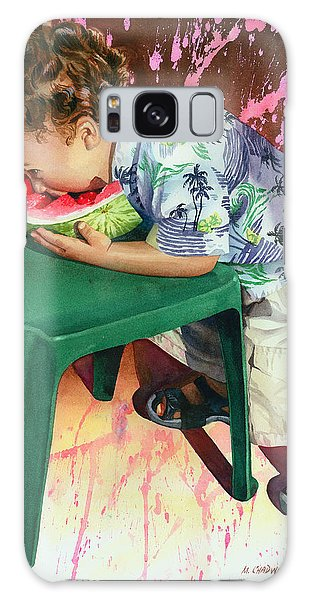 Watermelon Galaxy S8 Case - The Watermelon Eater by Marguerite Chadwick-Juner