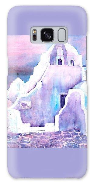 Greece White Church Of Mykonos Galaxy Case