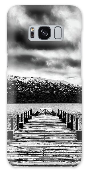 Landscape With Lake And Snowy Mountains In The Argentine Patagonia - Black And White Galaxy Case