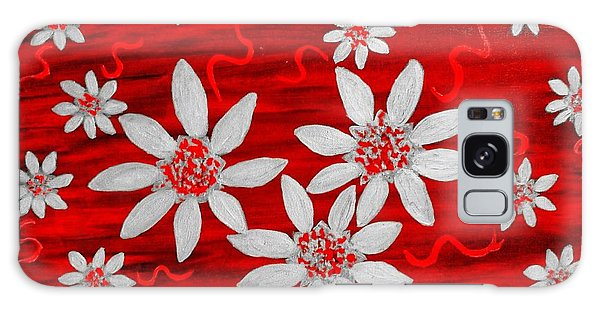 Three And Twenty Flowers On Red Galaxy Case