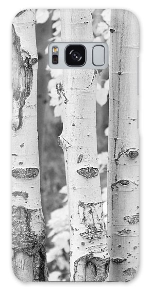 Three Aspens In Black And White  Galaxy Case