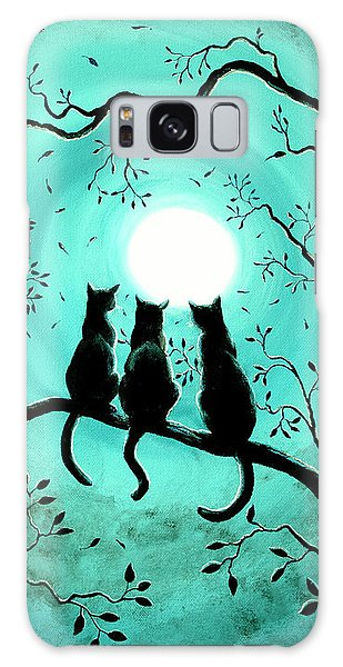 Three Black Cats Under A Full Moon Galaxy Case by Laura Iverson