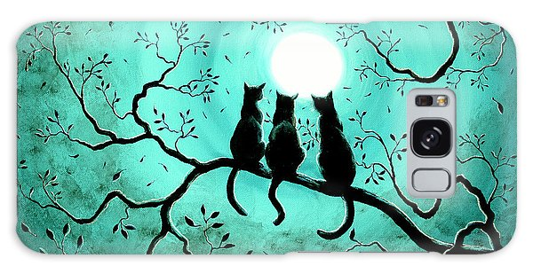 Three Black Cats Under A Full Moon Galaxy Case