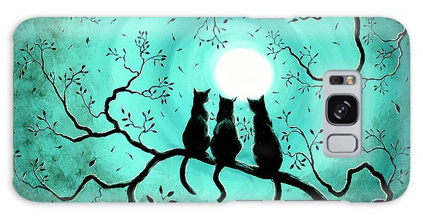 Halloween Galaxy Case - Three Black Cats Under A Full Moon by Laura Iverson