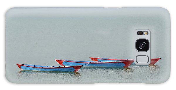 Three Blue Boats On Phewa Lake In Pokhara Galaxy Case