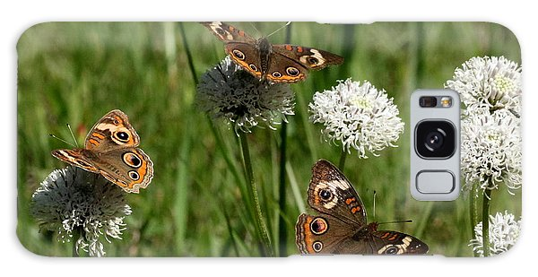 Three Buckeye Butterflies On Wildflowers Galaxy Case by Sheila Brown