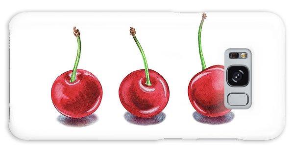 Galaxy Case featuring the painting Three Cherries Watercolor Painting by Irina Sztukowski