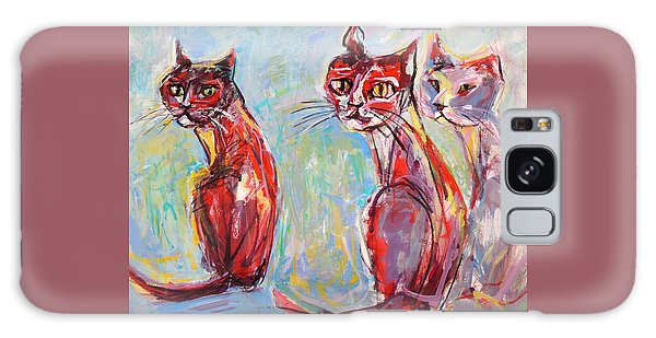 Three Cool Cats Galaxy Case by Mary Schiros