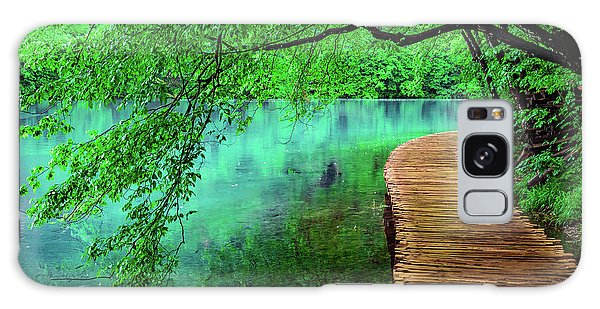 Tree Hanging Over Turquoise Lakes, Plitvice Lakes National Park, Croatia Galaxy Case
