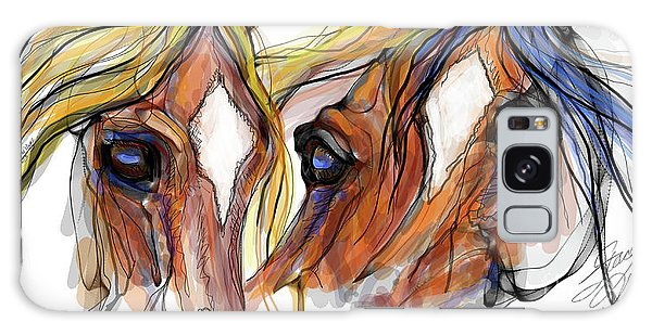 Three Horses Talking Galaxy Case by Stacey Mayer