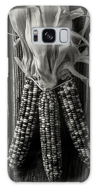Indian Corn Galaxy Case - Three Indian Corn In Black And White by Garry Gay