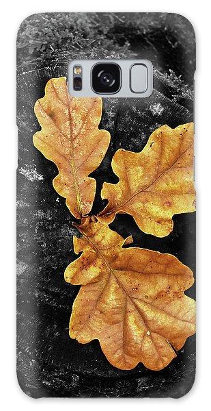 Three Leaves On Black Galaxy Case