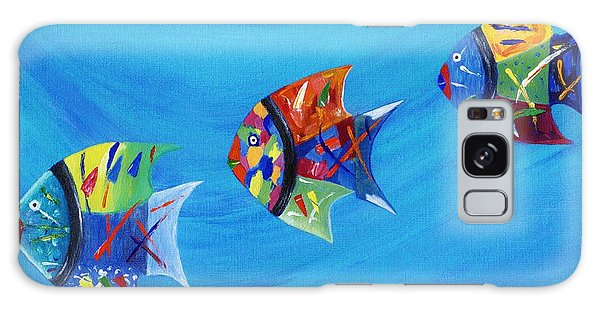 Galaxy Case featuring the painting Three Little Fishy's by Jamie Frier