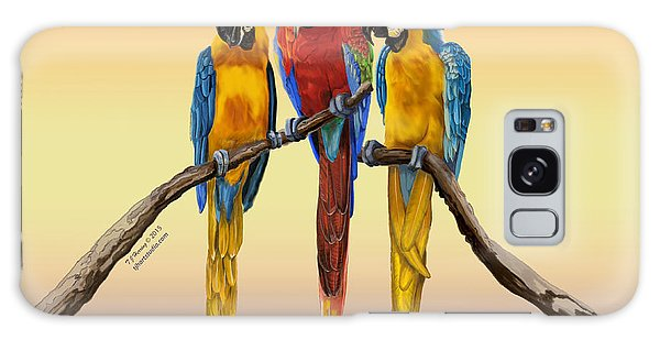 Three Macaws Hanging Out Galaxy Case