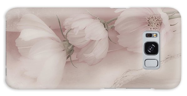Three Pink Cosmo Flowers Galaxy Case by Sandra Foster
