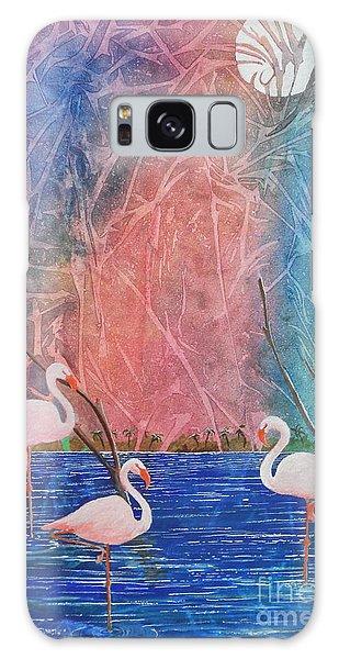 Three Pink Flamingos Galaxy Case by Jackie Mueller-Jones