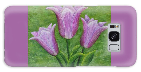 Galaxy Case featuring the painting Three Pink Tulips by Nancy Nale