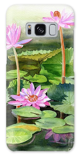 Lily Galaxy S8 Case - Three Pink Water Lilies With Pads by Sharon Freeman