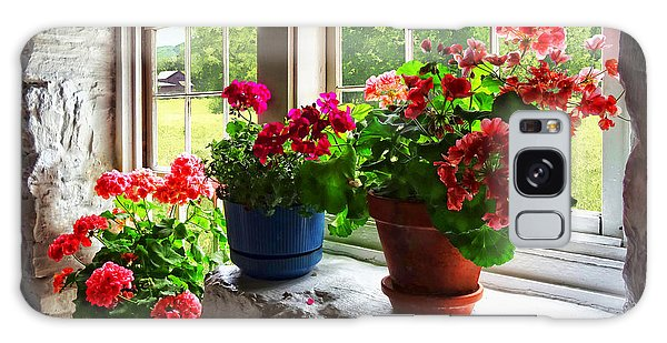 Three Pots Of Geraniums On Windowsill Galaxy Case