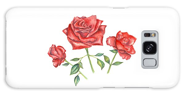 Galaxy Case featuring the mixed media Three Red Roses by Elizabeth Lock