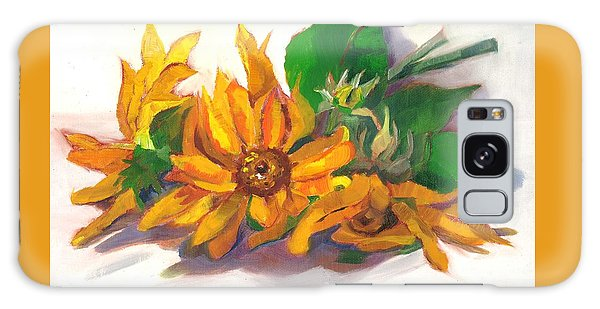 Three Sunflowers Galaxy Case by Susan Thomas