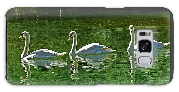 Three Swans Aswimming Galaxy Case by Judy Wanamaker