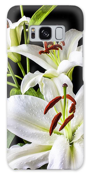 Lily Galaxy Case - Three White Lilies by Garry Gay