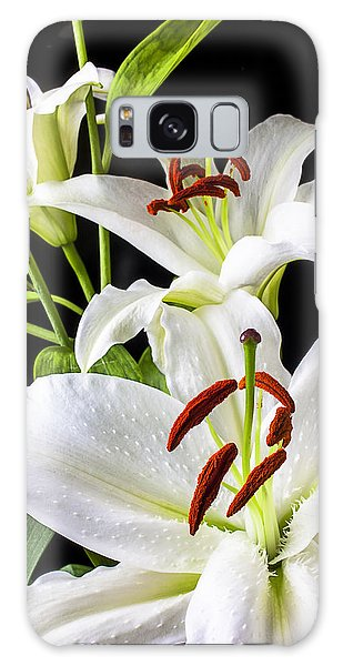 Three White Lilies Galaxy Case