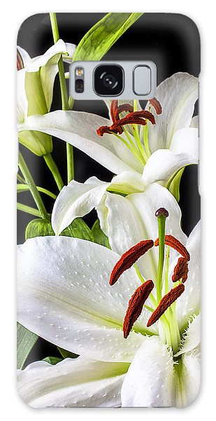 Lily Galaxy S8 Case - Three White Lilies by Garry Gay