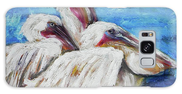 Three White Pelicans Galaxy Case