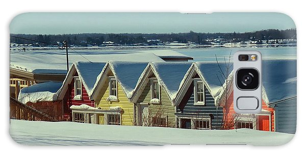Winter View Ti Park Boathouses Galaxy Case