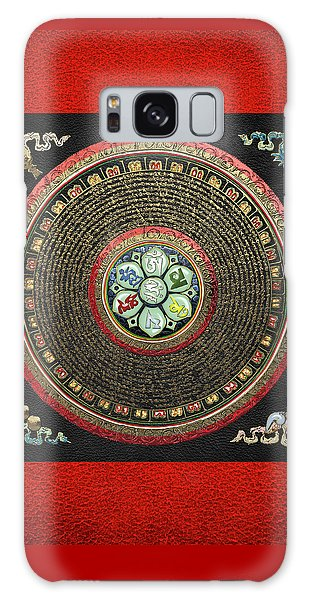 Tibetan Om Mantra Mandala In Gold On Black And Red Galaxy Case