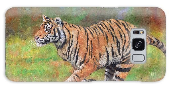 Tiger Running Galaxy Case by David Stribbling