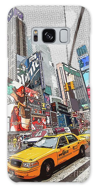 New York City Taxi Galaxy Case - Times Square Pop Art by Delphimages Photo Creations