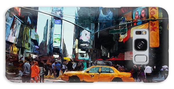 Times Square Taxi- Art By Linda Woods Galaxy Case by Linda Woods