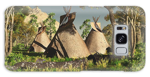 Tipis In The Trees Galaxy Case by Walter Colvin