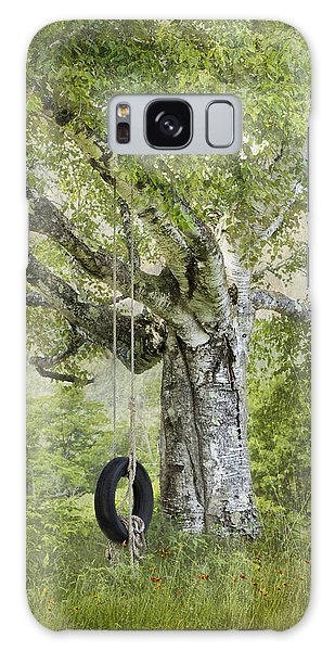 Tire Swing Hanging Off A White Birch Galaxy Case