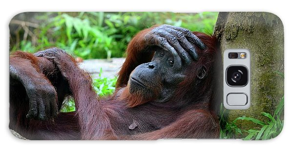Tired Female Orangutan Ape Rests Against Tree With Hand On Her Head Galaxy Case