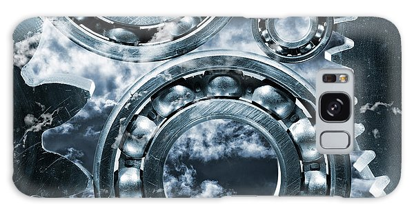 Titanium Gears Against Storm Clouds Galaxy Case by Christian Lagereek