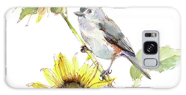 Titmouse Galaxy Case - Titmouse With Sunflower by John Keeling