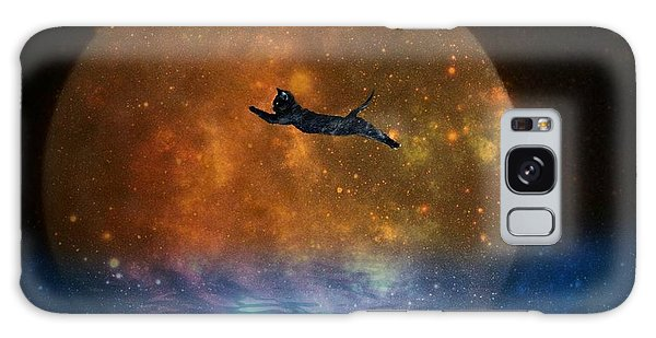 To The Moon And Back Cat Galaxy Case by Kathy Barney
