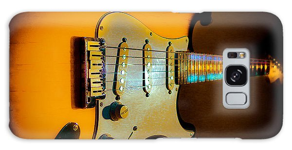 Galaxy Case featuring the digital art Tobacco Burst Stratocaster Glow Neck Series by Guitar Wacky