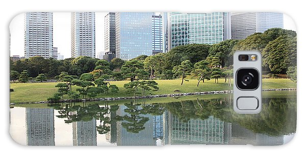 Tokyo Skyline Reflection Galaxy Case by Carol Groenen