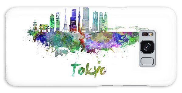 Tokyo V3 Skyline In Watercolor Galaxy Case by Pablo Romero