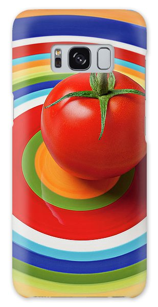 Tomato On Plate With Circles Galaxy Case by Garry Gay